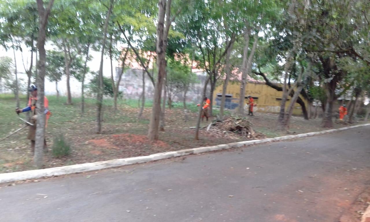 #PraCegoVer - Trabalhadores da Subprefeitura cortam grama na via, em meio a um pequeno bosque.