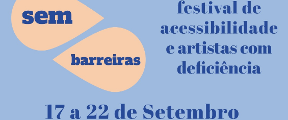 Fundo azul com a inscrição festival de acessibilidade e artistas com deficiência