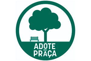 Imagem com fundo branco, circulo verde com uma arvore centralizada dentro do circulo e um banco ao lado da arvore Texto: Adote uma Praça