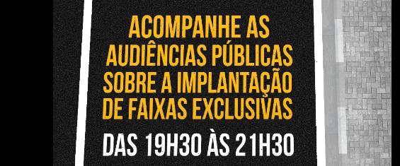 A imagem contém, sobre um fundo preto, um chamado para a audiência pública, com tema e horário.