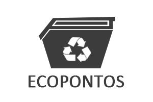 Ilustração com caçamba, símbolo da reciclagem  e escrito ecopontos