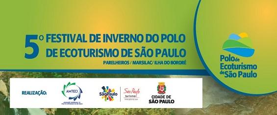 imagem com fundo verde com o texto: 5º Festival de Inverno do Polo de Ecoturismo de São Paulo - Parelheiros – Marsilac – Ilha do Bororé