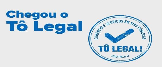 Imagem com fundo gelo e texto em azul: Chegou o Tô Legal