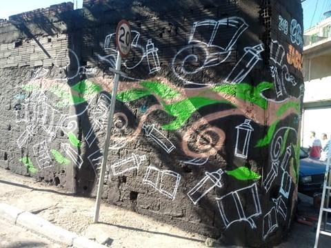 Nesta imagem tem o grafite feito no dia do evento do Coopera