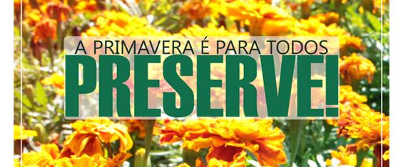 Foto de flores superexpostas com as cores laranja e amarelo predominando. O título: A Primavera é para todos. Preserve!