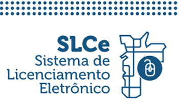 Ilustração com desenho do mapa da cidade em azul com o desenho de um mouse e as palavras SLCe, Sistema de Licenciamento Eletrônico.