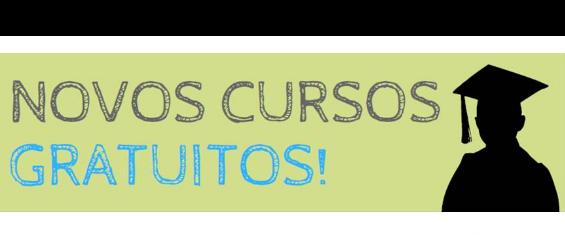 imagem com a borda branca, centro verde, escrito: novos cursos gratuitos.