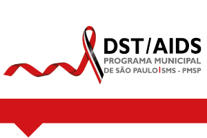 #PraCegoVer: num fundo branco com detalhe vermelho na parte de baixo, do lado esquerdo está o logo do programa e do lado direito em letras pretas e cinzas está escrito DST/Aids - Programa Municipal de São Paulo, SMS-PMSP