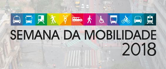 Imagem com o logo da Semana da Mobilidade 2018 e ao fundo, uma via da cidade de São Paulo vista de cima.