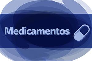 Titulo em azul, fundo na cor azul, ilustração de um pilula de medicamentos