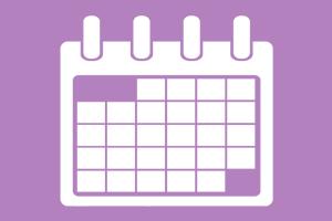 Calendário lilás com espaço das datas em branco