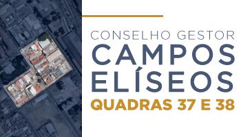 """Ao lado direito, a vista aérea de um terreno. Centralizado, o texto """"Campos Elísios Quadras 37 e 38""""."""