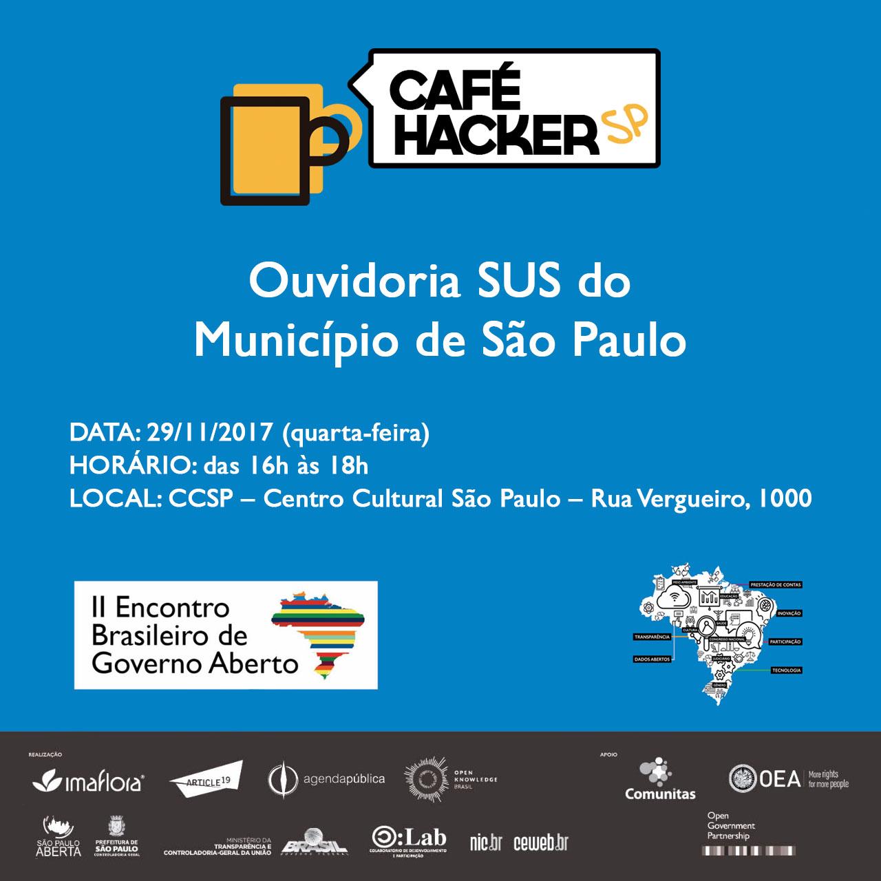 Arte com os detalhes sobre o Café Hacker que ocorrerá no II Encontro de Governo aberto.