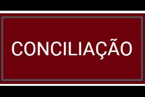"""Imagem com fundo vinho e na frente a palavra na cor branca """"Conciliação"""""""