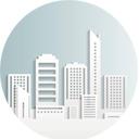 Em forma circular, a ilustração de prédios habitacionais.