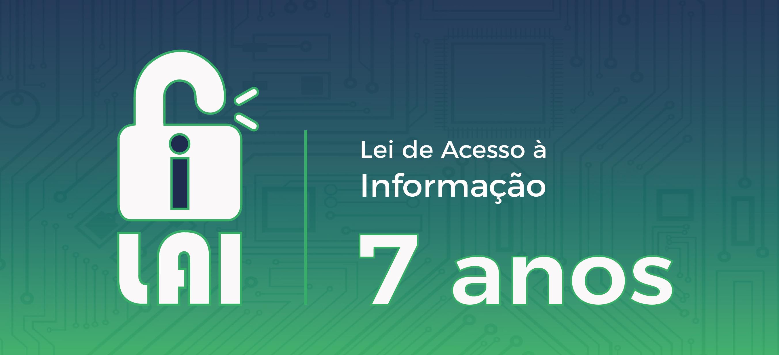 arte com fundo verde e ilustrações representando um placa de computador, traz a sigla LAI abaixo de um cadeado aberto. ao lado a transcrição da sigla Lei de Acesso à Informação - 7 anos