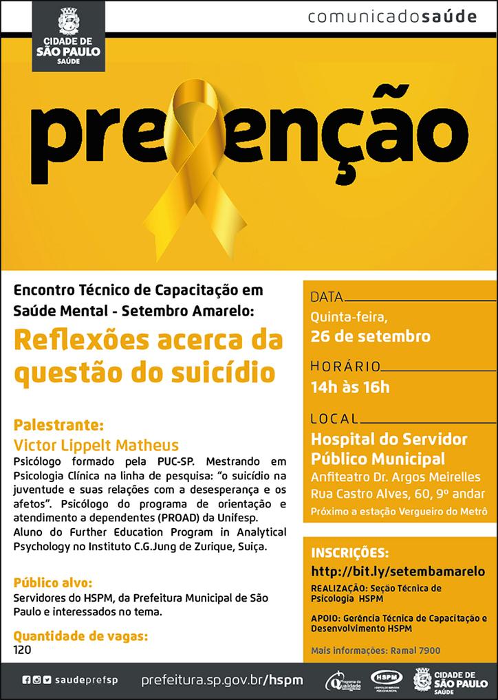 Cartaz com informações da palestra do Setembro Amarelo