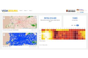 Imagem de uma tela de dados da Plataforma Vida Segura.