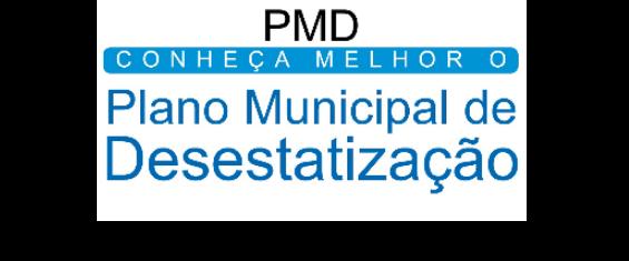 """Imagem com o texto """"Plano Municipal de Desestatização"""""""