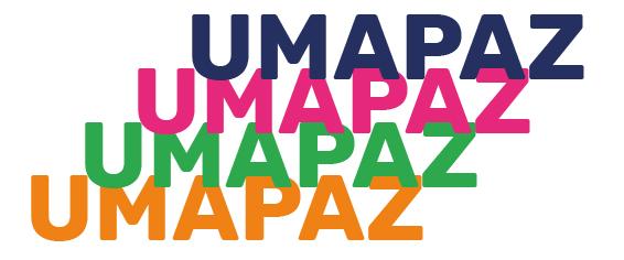 UMAPAZ escrito 4 vezes de cima para baixo nas cores azuk, rosa, verde e laranja.