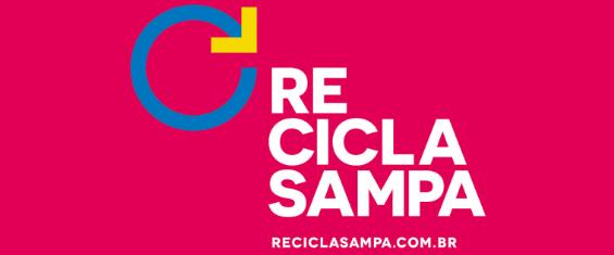 Logo do Recicla Sampa, com fundo Rosa, letras em branco e logo em azul