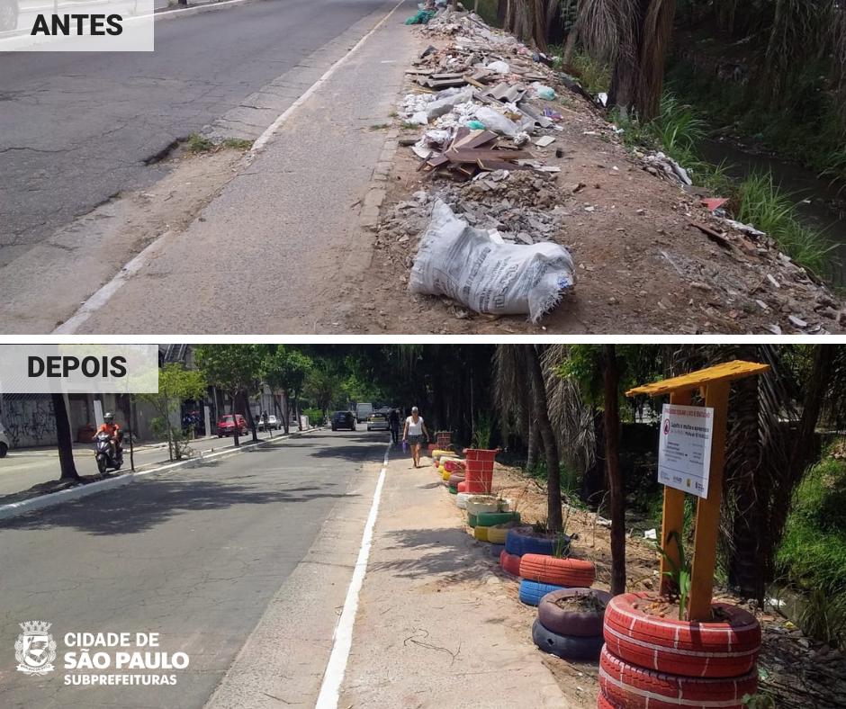 Foto mostra antes e depois de ponto de descarte irregular de entulho na Rua da Solidariedade no Capão Redondo.