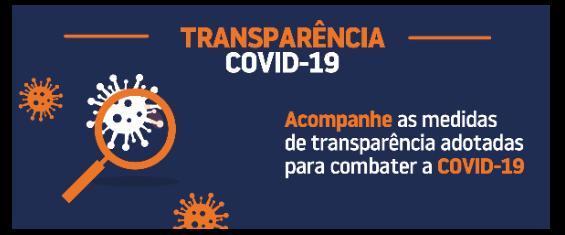 arte azul com título transparência covid, ilustrações de virus e uma lupa e a frase acompanhe as medidas de transparência adotadas para combater a COVID-19
