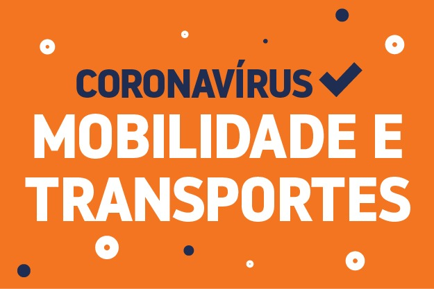 fundo laranja com texto centralizado na cor roxa coronavirus e na cor branca mobilidade e tranpostes