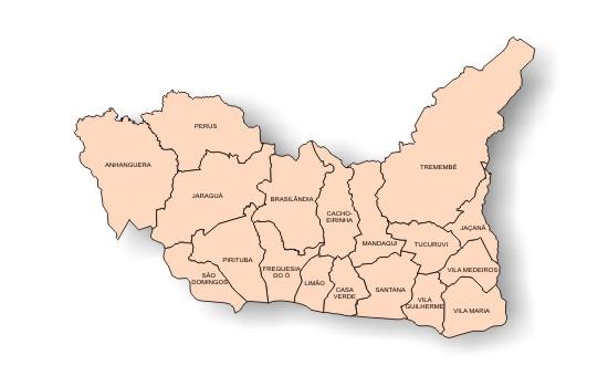 mapa da região norte do município de São Paulo, com a divisão por distrito