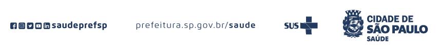 #PraCegoVer: num fundo branco há os logos do Facebook, Instagram, Twitter, Youtube e Linkedin - saudeprefsp - prefeitura.sp.gov.br/saude, logo do SUS e logo da Cidade de São Paulo Saúde